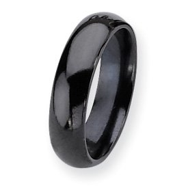 Titanium Black Plated 6mm Band Ring - Size 11 - JewelryWeb