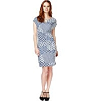 M&S Collection Slash Neck Tile Print Dress