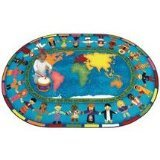 "Joy Carpets Kid Essentials Inspirational Let The Children Come Area Rug, Multicolored, 7'8"" x 10'9"""