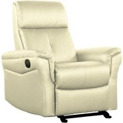 Shermag Bonded Leather Glider With Push-Button Recline, Cream