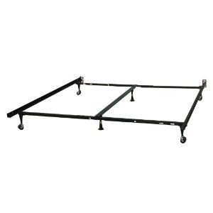 Heavy Duty Adjustable Queen, King or Cal King Metal Deluxe Bed Frame With Center Support & Wide Rug Rollers