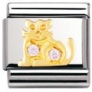 Composable Classic EARTH ANIMALS in stainless steel , 18k gold and Cubic zirconia (PINK cat)