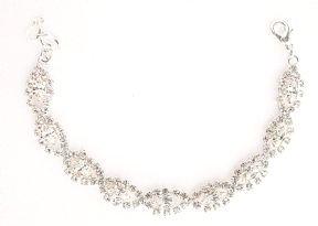Lydia Swarovski Crystal 1 Row Bracelet / One Row Swarovski Crystal Bracelet / Clear Crystal Bracelet in Swarovski Crystal