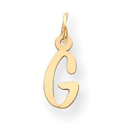 14k Small Slanted Block Initial G Charm - Measures 16.5x6.2mm - JewelryWeb
