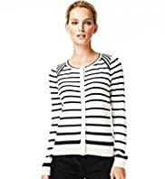 Autograph Cotton Rich Striped Cardigan with Silk
