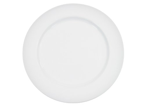 CAC China HMY-16 10-1/2-Inch Harmony Porcelain Plate, White, Box of 12