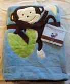"Embroidered ""Monkey Blue"" Soft Plush Reversible Blanket"