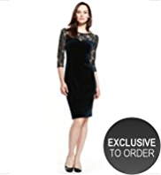 M&S Collection Floral Lace Velour Bodice Shift Dress