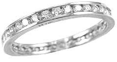 14k White Gold, Eternity Endless Band Ring with Round Brilliant Created Gems