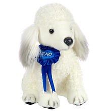 FAO Schwarz 10 inch Blue Ribbon Plush Poodle - White - 1