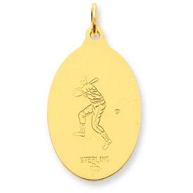 24k Gold-plated Sterling Silver Saint Christopher Baseball Medal