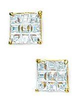 14k Yellow Gold 5x5mm 9 Segment Square CZ Basket Set Earrings - JewelryWeb