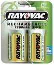 Rayovac Rechargeable NiMH Batteries, D Size, 2-Count Packages (Pack of 3)