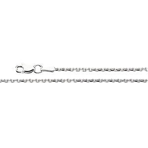 Genuine IceCarats Designer Jewelry Gift 14K White Gold Diamond Cut Cable Chain. 16 Inch Diamond Cut Cable Chain In 14K White Gold by IceCarats