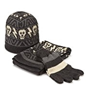 Skull Design Hat, Scarf & Gloves Set