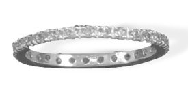 Sterling Silver Clear 2mm CZ Eternity Band Ring - Size 7 - JewelryWeb
