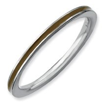 Glamour Style Silver Stackable Brown Enamel Band. Sizes 5-10 Available