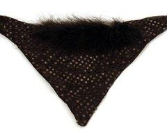 Sequin and Fur Black Boa Dog Bandana (Medium)