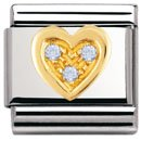 Composable Classic LOVE in stainless steel , 18k gold and Cubic zirconia (SKY BLUE heart)