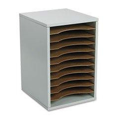 ** Wood Vertical Desktop Literature Sorter, 11 Sections 10 5/8 x 11 7/8 x 16, Gray **