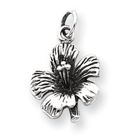 Sterling Silver Antique Hibiscus Flower Charm - JewelryWeb