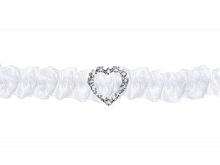 Giarrettiera bianco con piccolo Strass Flash cuore | sposa matrimonio