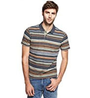 North Coast Pure Cotton Pigment Striped Polo Shirt