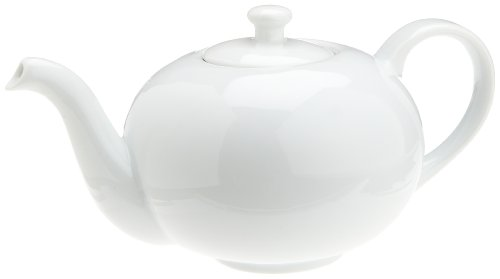 Kitchen Supply 8122 White Porcelain Teapot, 6-Cup