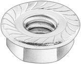 #10-32 Hex Flange Nut Hardened / Serration UNF Steel / Zinc Plated, Pack of 50