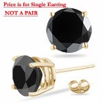 1.00 Ct Black Diamond Mens Stud Earring in 14K Yellow Gold-Screw Backs