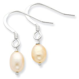 Sterling Silver Pink Cultured Freshwater Pearl Dangle Earrings