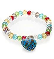 Assorted Multi-Faceted Bead & Heart Bracelet