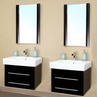 24 Inch Double Sink Wall Mount Bathroom Vanity In Black