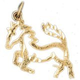 CleverEve 14K Yellow Gold Pendant Horse 1 Grams