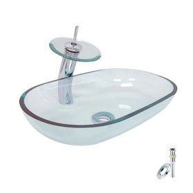 Victory Oval Transparent Tempered glass Vessel Sink With Waterfall Faucet, Mounting Ring and Water Drain(0917-VT4050)