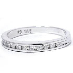 .25CT 14k White Gold Round Brilliant Cut Channel Set Stackable Diamond Anniversary Band Guard Wedding Ring Color (G/H) Clarity (I1) Size 6