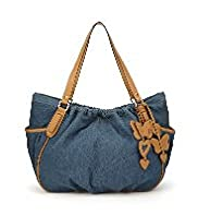 Per Una Pure Cotton Butterfly & Heart Appliqué Denim Slouch Bag