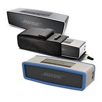 Bose Soundlink Mini Bluetooth Speaker, Up To 30 Ft Wireless Range, Silver - Bundle With Bose Sl Mini Speaker Travel Bag, Bose Mini Bluetooth Speaker Soft Cover - Blue