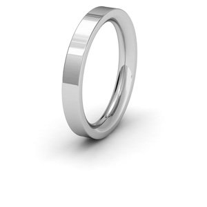 Palladium, 3mm Wide, Flat Court Shape Heavy Weight Wedding Ring