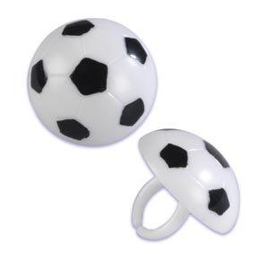 Soccer Ball Cupcake Rings - 12 Ct
