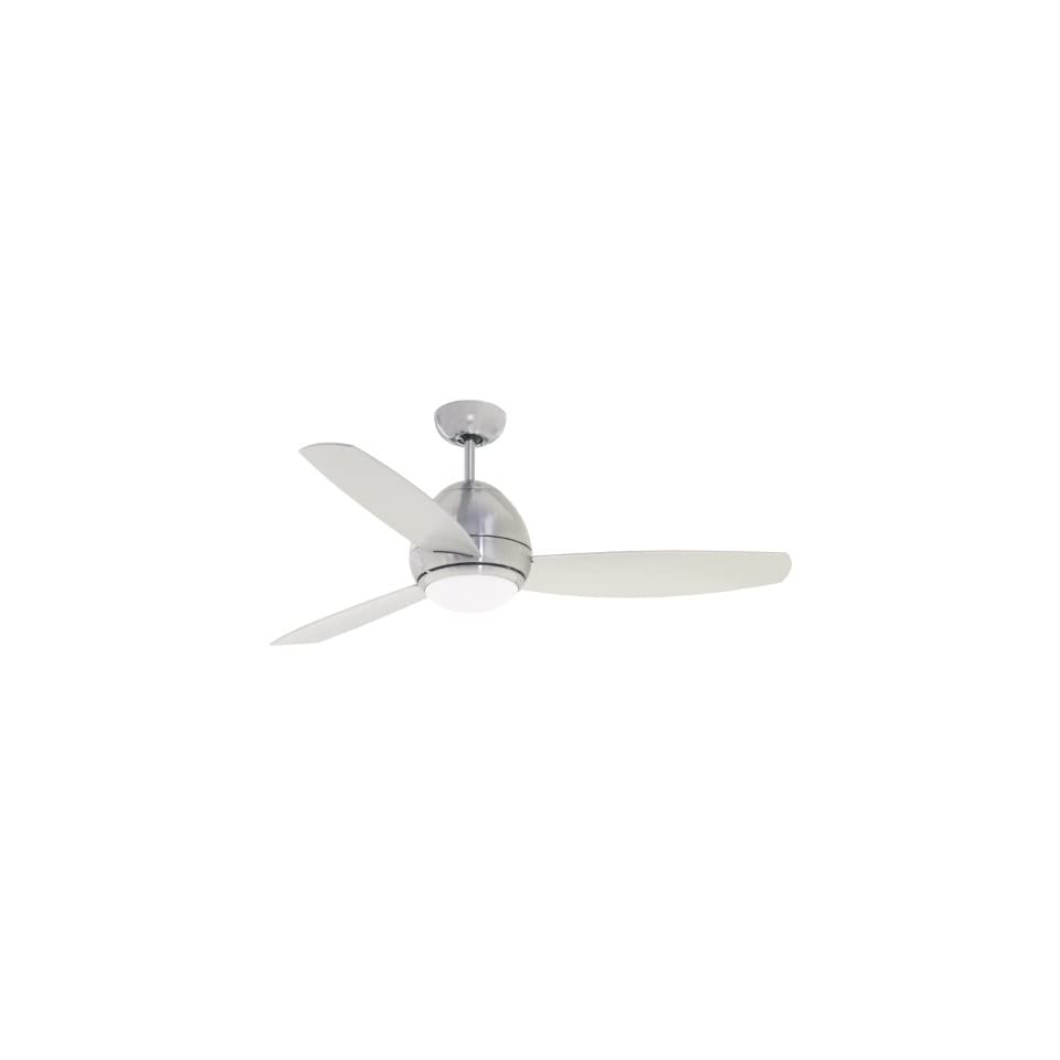 Emerson Ceiling Fans CF244BS, Curva, Modern Indoor Outdoor Ceiling Fan With Light And Remote, Wet Rated, 44 Inch Blades, Brushed Steel Finish