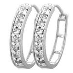 White Diamond Hoop Earrings 10k White Gold .50 Carat
