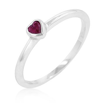 White Gold Rhodium Bonded Right-Hand Solitaire Heart Ring with Ruby Red Cubic Zirconia in Bezel Setting