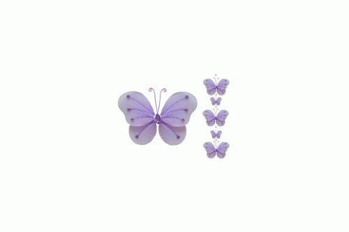 Hanging Nylon Butterfly Craft Nursery Bedroom Girls Room Ceiling Wall Decor, Wedding Birthday Party Baby Bridal Shower Decorations - Ava Butterfly Garland Decoration - Purple