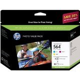 HP 564 (CG925AN) Cyan/Magenta/Yellow Original Ink Cartridges with Photo Paper, 3 pack ~ HP