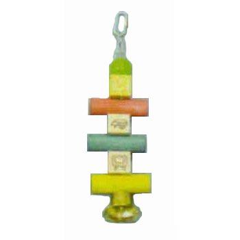Image of 11.5 Toy Alpha Block, Dowel Block Beads (Catalog Category: Bird / Bird Toys-plastic Acrylic) (BBO22339)