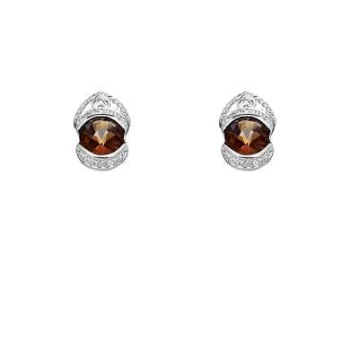 Fashionable Button Earrings 925 Sterling Silver in Twisted Rope Design with Circle Smokey CZ Desgin(WoW !With Purchase Over $50 Receive A Marcrame Bracelet Free)
