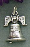 Sterling Silver Charm, 3/4 Inch Tall, Liberty Bell, 2.3 Grams