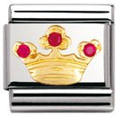 Composable Classic FUN in stainless steel , 18k gold and Cubic zirconia (RED Queen crown)