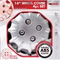 "14"" WHEEL TRIMS COVERS TYRE VALVE CAPS TIES ALLOY LOOK SILVER SPOKE RIMS INCH"